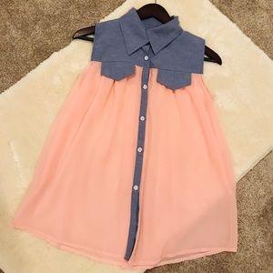 Tops - Pink Collar Top